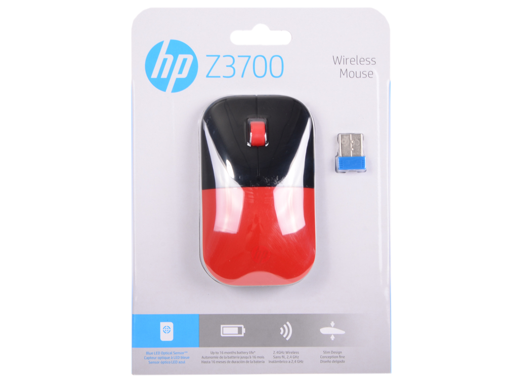 Мышь беспроводная HP Z3700 красный USB V0L82AA#ABB