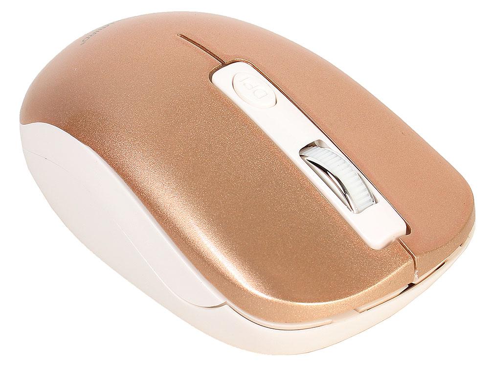 Мышь беспров. Gembird MUSW-400-G, бело-золотой, бесшумный клик, 3кн.+колесо-кнопка, 2.4ГГц, 1600 dpi, блистер цена и фото