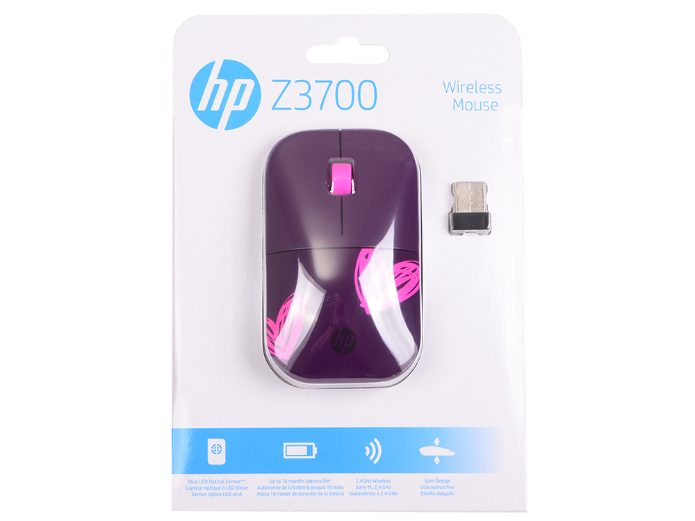 Мышь беспроводная HP Z3700 Ladies edition USB 1CA96AA#ABB z ultra google edition