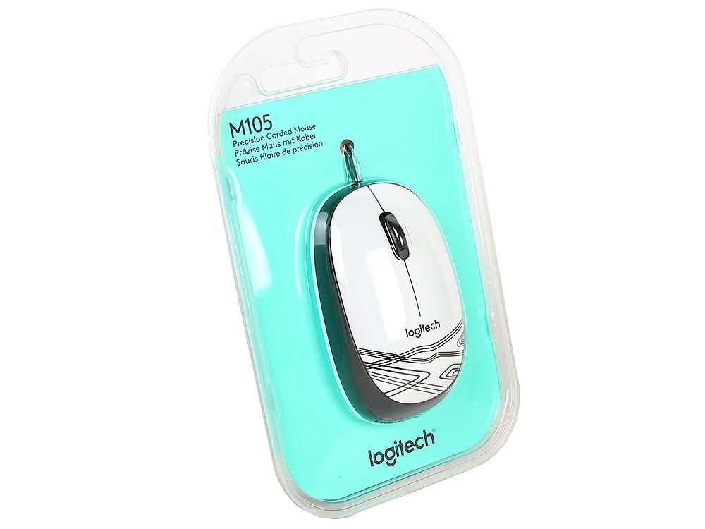 Мышь Logitech Mouse M105 White USB проводная, оптическая, 1000 dpi, 3 кнопки + колесо