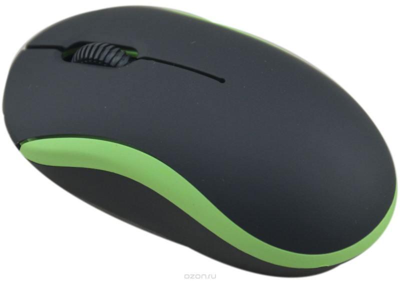 Мышь проводная Ritmix ROM-111 чёрный зелёный USB цена и фото