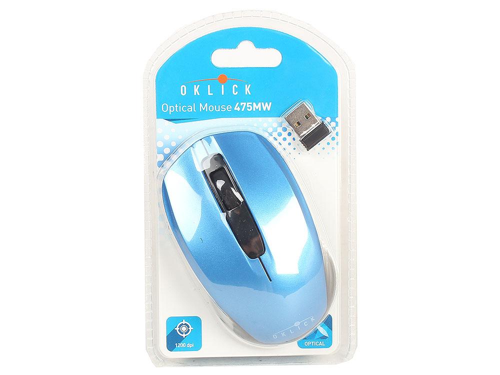 Мышь Oklick 475MW черный/синий оптическая (1200dpi) беспроводная USB (2but) цена