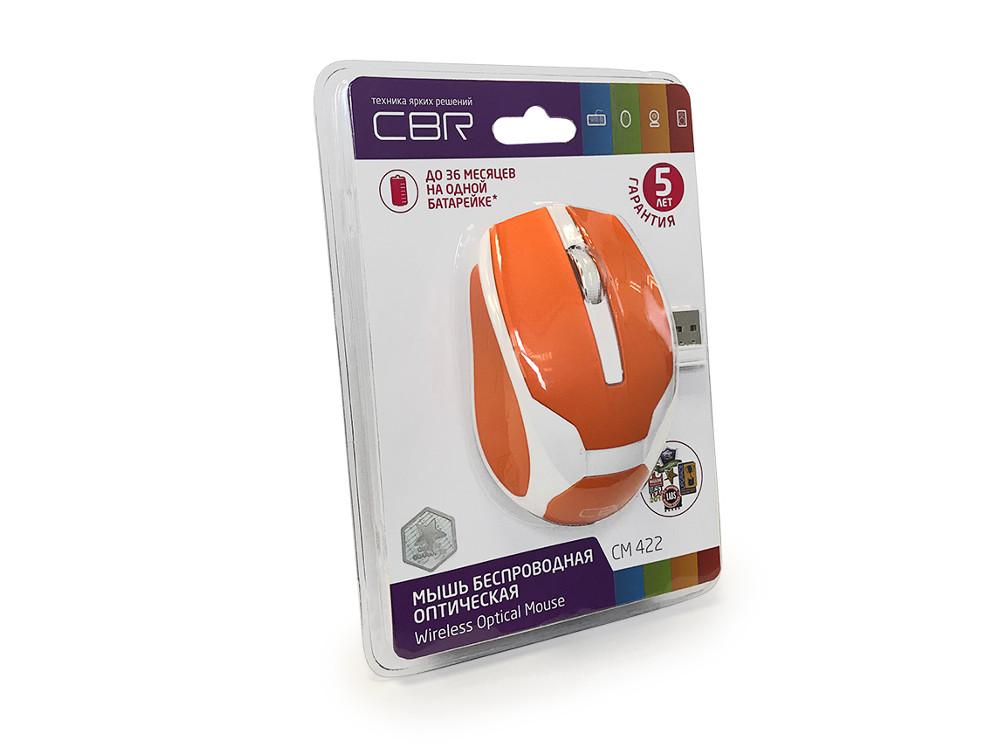 все цены на Мышь CBR CM-422 Orange, беспроводная, оптическая, 1600 dpi, 2 кнопки + колесо онлайн