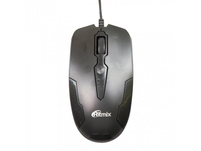 Мышь проводная Ritmix ROM-210 Black , 800 DPI, Кнопки: 2+1 колесо, Длина кабеля: 150 см, Черная, USB