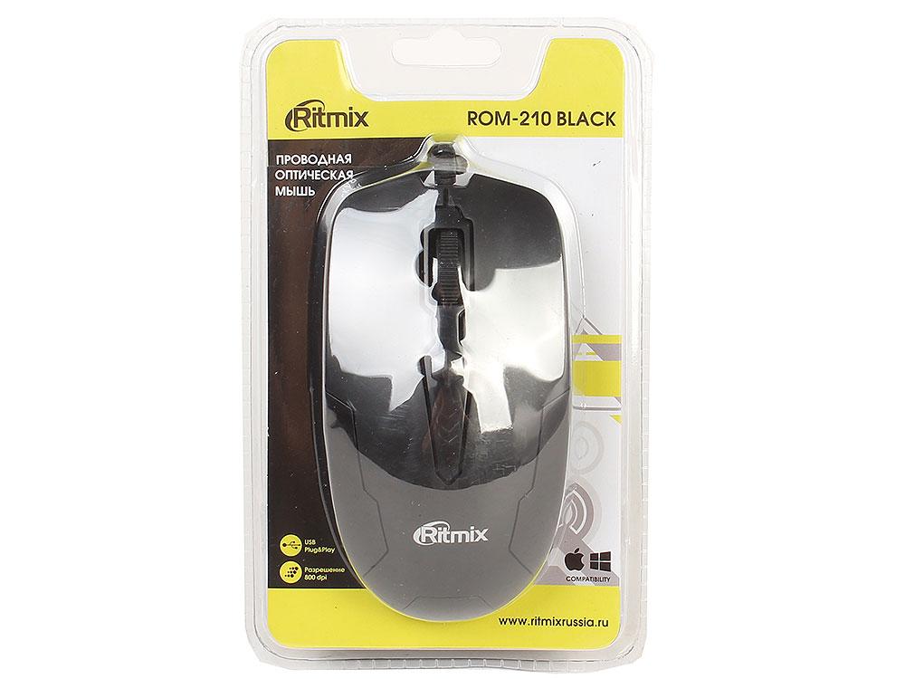 Мышь проводная Ritmix ROM-210 Black , 800 DPI, Кнопки: 2+1 колесо, Длина кабеля: 150 см, Черная, USB ritmix rom 303 black мышь