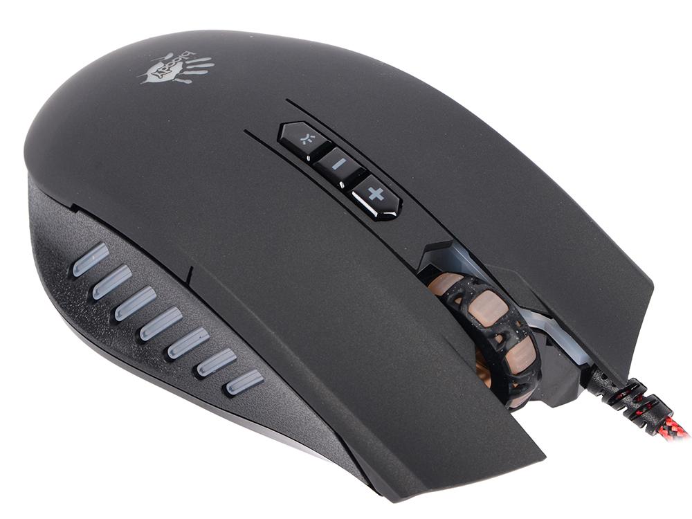 Мышь A4 Bloody Q8181S Black USB проводная, оптическая, 3200 dpi, 8 кнопок + колесо мышь проводная tt esports by thermaltake azurues mini mo arm005dt black