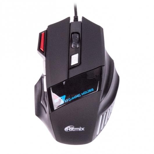 Мышь Ritmix ROM-345 Black USB проводная, оптическая, 2400 dpi, 6 кнопjк + колесо мышь проводная ritmix rom 111 чёрный usb
