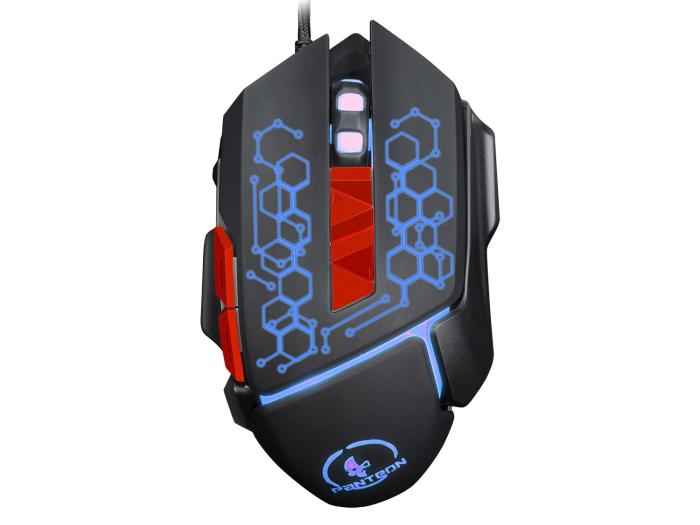 Проводная игровая программируемая мышь Jet.A Panteon MS53 чёрная (500-2000dpi,7пр.кн,LED-подсв.,USB) цена и фото