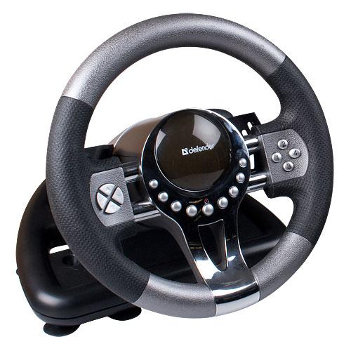 Руль Defender Forsage GTR 12 кнопок + два подрулевых переключателя + восьмипозиционный переключатель видов,Присоски + струбцина, руль проводной defender forsage sport 64372