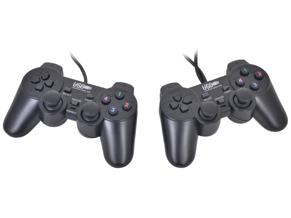 Геймпад 3Cott Двойной GP-02 12 кнопок, вибрация, USB, черный dialog action gp a11 черный геймпад вибрация 12 кнопок usb