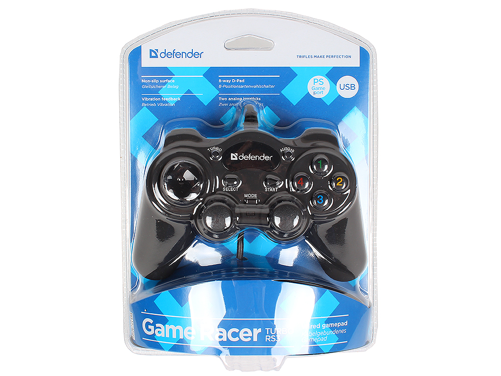 Геймпад Defender GAME RACER TURBO RS3 USB 12 кнопок + два аналоговых джойстика + кнопка AUTO12 цена