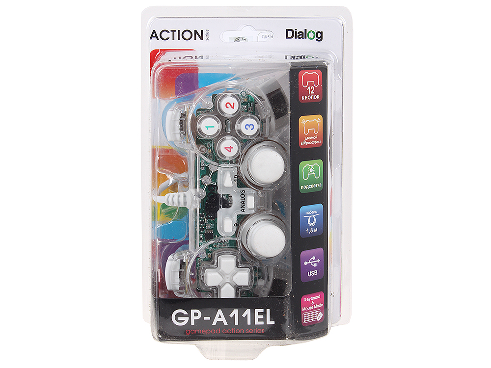 Геймпад Dialog Action GP-A11EL White, вибрация, подсветка, 12 кнопок, USB