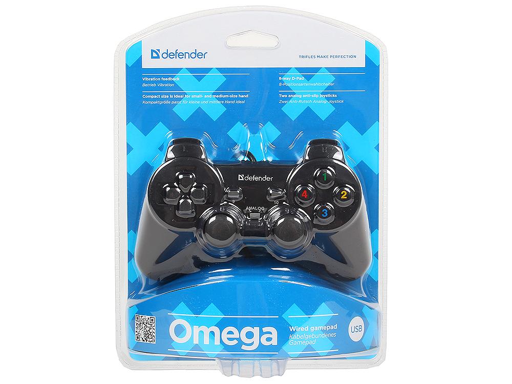 Геймпад проводной Defender Omega USB, 12 кнопок, 2 стика геймпад проводной defender archer [pc ps2 ps3] black черный