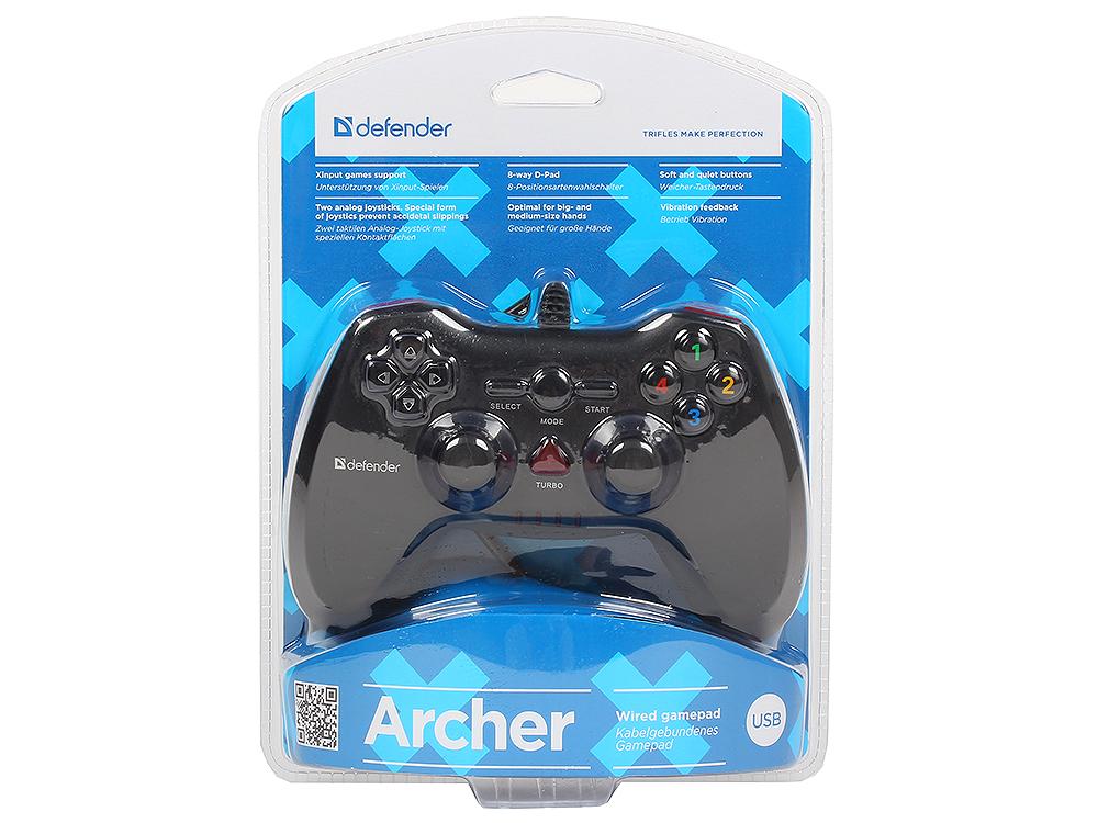 Геймпад проводной Defender Archer USB-PS2/3, 12 кнопок, 2 стика руль defender forsage drift gt usb ps2 ps3 64370 черный