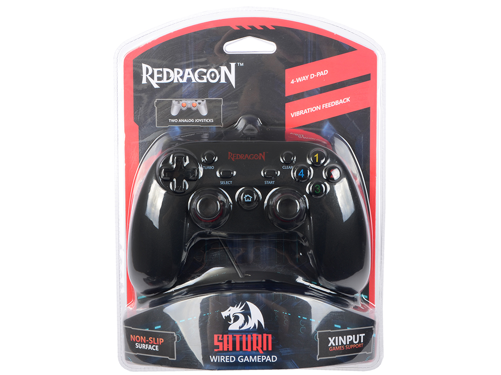 Геймпад проводной Redragon Saturn USB Xinput-PS3, 12кнопок, 2 стика проводной игровой контроллер с мышью frag fx piranha для ps3 красный
