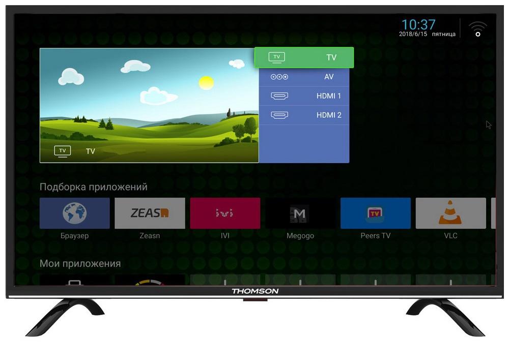 Телевизор Thomson T32RTL5130 LED 32 Black, 16:9, 1366x768, Smart TV, 3000:1, 285 кд/м2, RJ-45, USB, AV, 2xHDMI, DVB-T2, T, C, S, S2