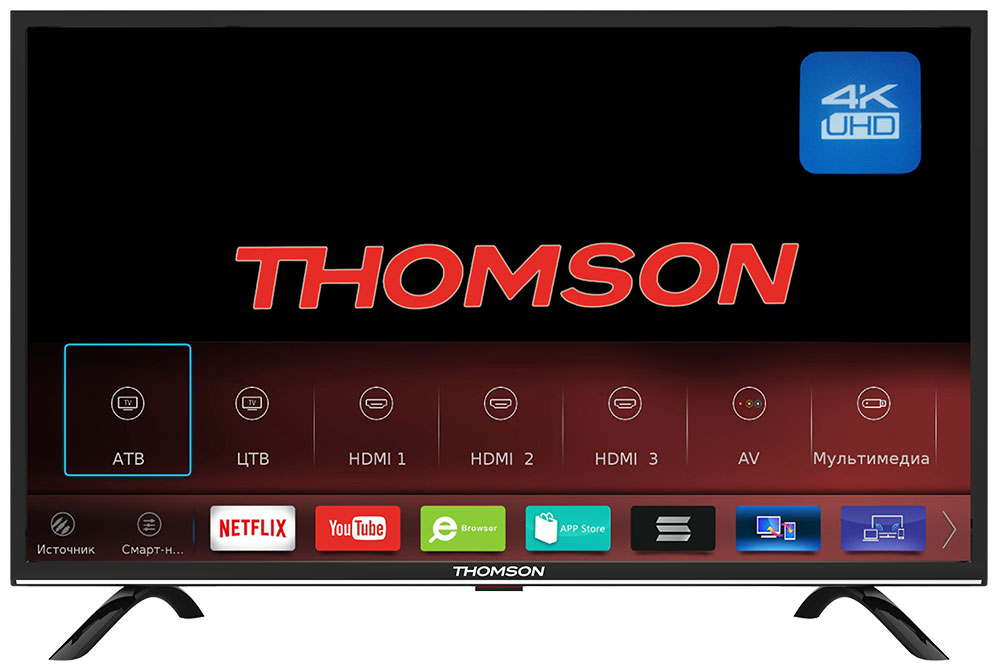 Телевизор Thomson T55USL5210 LED  Black, 16:9, 3840x2160, Smart TV, 1200:, 300 кд/м2, USB, 3xHDMI, AV, Wi-Fi, RJ-45, DVB-, T2, , , S2