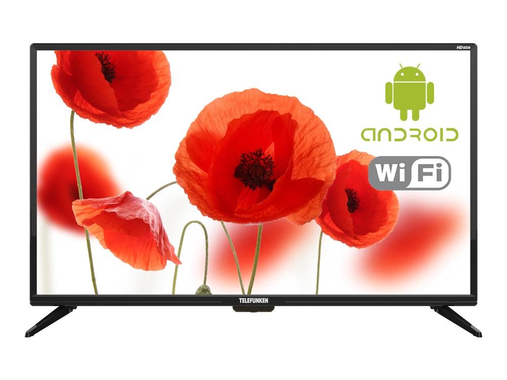 """Телевизор Telefunken TF-LED32S87T2S LED 32"""" Black, 16:9, 1366x768, Smart TV, 3000:1, 240 кд/м2, USB, 3xHDMI, AV, RJ-45, Wi-Fi, DVB-T, T2, C"""