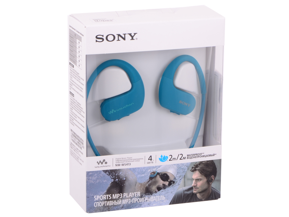 Плеер Sony NW-WS413 Голубой плеер sony nw a35hn