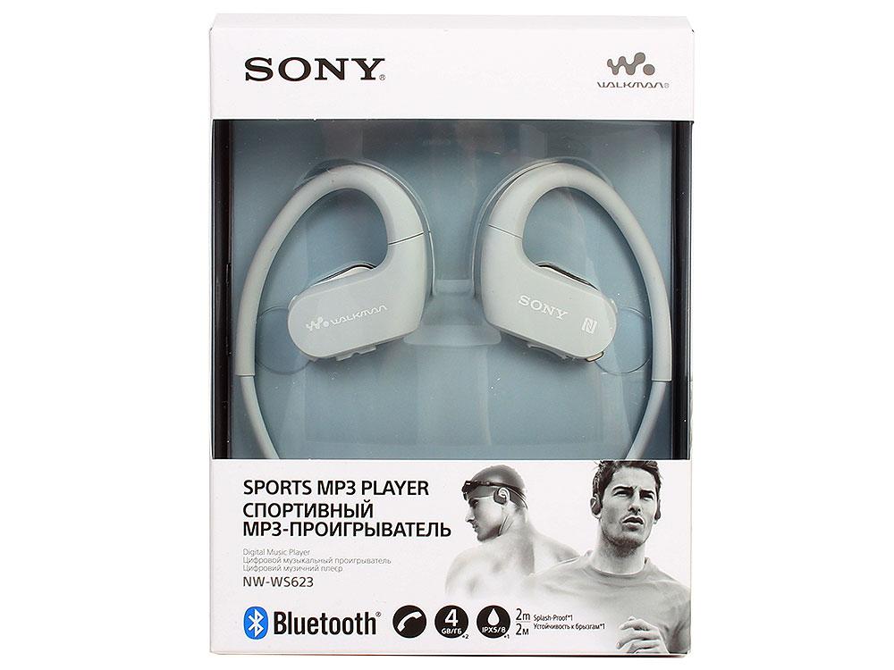 Плеер Sony NW-WS623 Белый водонепроницаемый спортивный mp3-плеер, 4Гб, до 12 часов работы, работа в солёной и мыльной воде, не боится песка и пыли philips sa1108 спортивный mp3 плеер