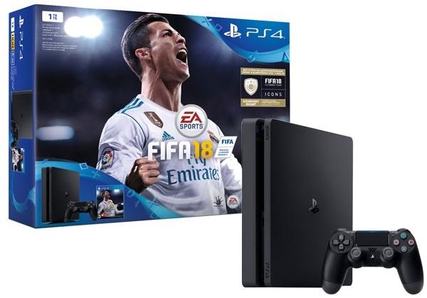 Игровая консоль SONY PS4 CUH-2108B PS4 1 ТБ, черная в комплекте:2xDualshock 4, Fifa 18, PS+ 14 дней игровая приставка sony playstation 4 slim 1tb fifa 18 dualshock 4