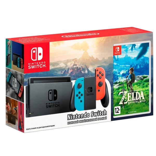 Комплект Игровая приставка Nintendo Switch красный синий + Игра на картридже The Legend of Zelda: Br игровая приставка nintendo switch grey legend of zelda breath of the wild