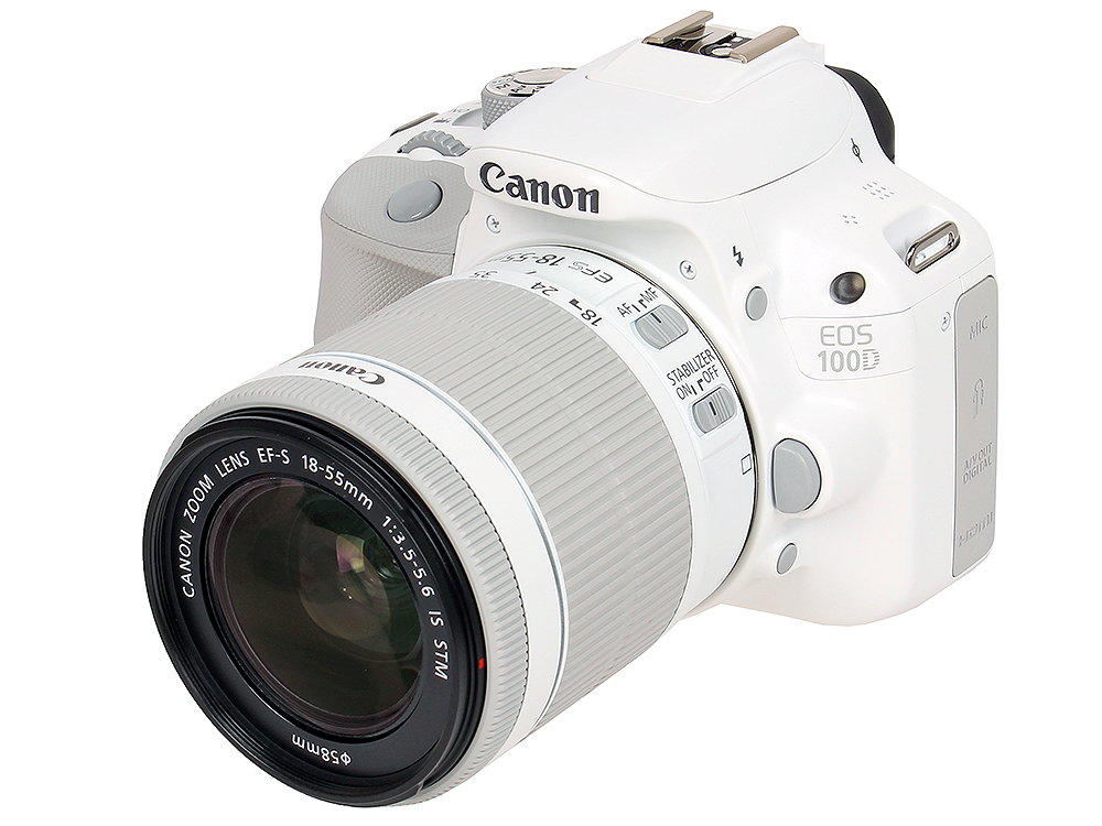 Фотоаппарат Canon EOS 100D IS KIT White (зеркальный, 18Mp, EF18-55 IS STM, 3, SDHC) цифровая фотокамера canon eos m10 15 45is stm white 0922c012