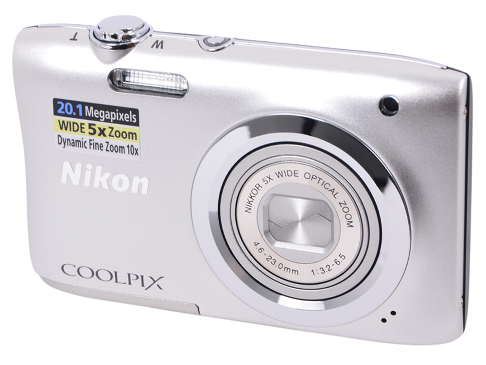 Фотоаппарат Nikon Coolpix A100 Silver (20.1Mp, 5x zoom, SD, USB, 2.6) цифровой фотоаппарат nikon coolpix s9900