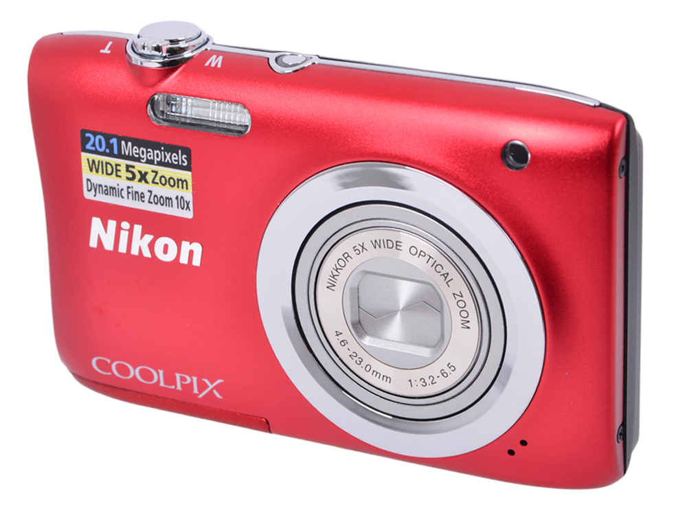 Фотоаппарат Nikon Coolpix A100 Red (20.1Mp, 5x zoom, SD, USB, 2.6)