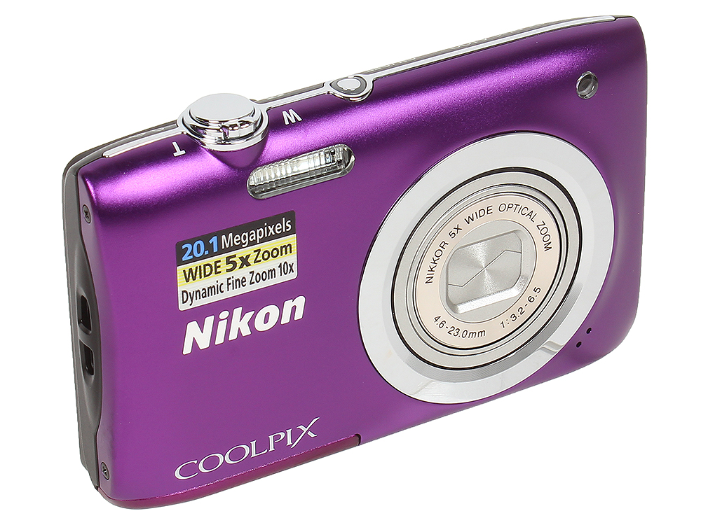 Фотоаппарат Nikon Coolpix A100 Purple (20.1Mp, 5x zoom, SD, USB, 2.6) цифровой фотоаппарат nikon coolpix s9900
