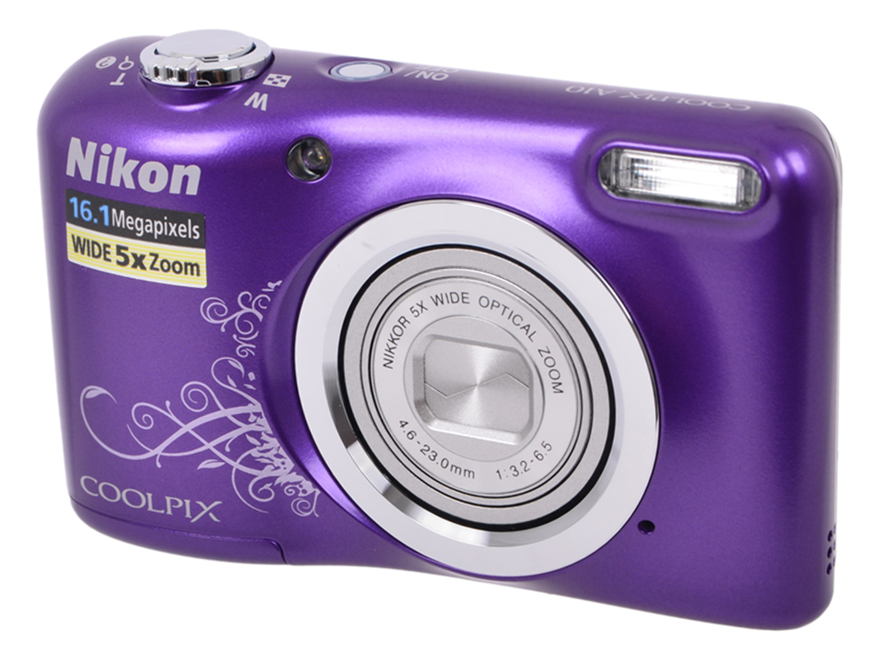 Фотоаппарат Nikon Coolpix A10 Purple Purple Lineart (16Mp, 5x zoom, SD, USB, 2.7) фотоаппарат nikon coolpix a100 purple 20 1mp 5x zoom sd usb 2 6