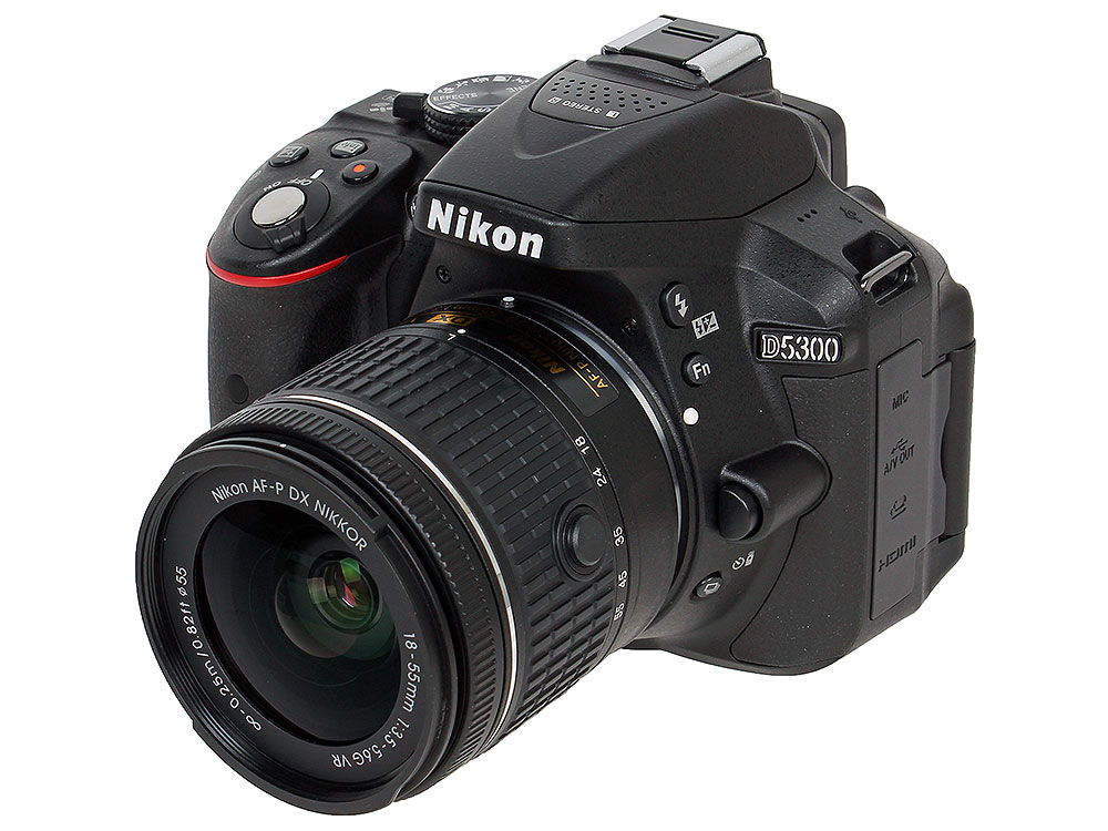 Фотоаппарат Nikon D5300 Black KIT (DX 18-55 VR AF-P 24.1Mp, 3 WiFi, GPS) nikon d3300 kit 18 55 vr af p черный
