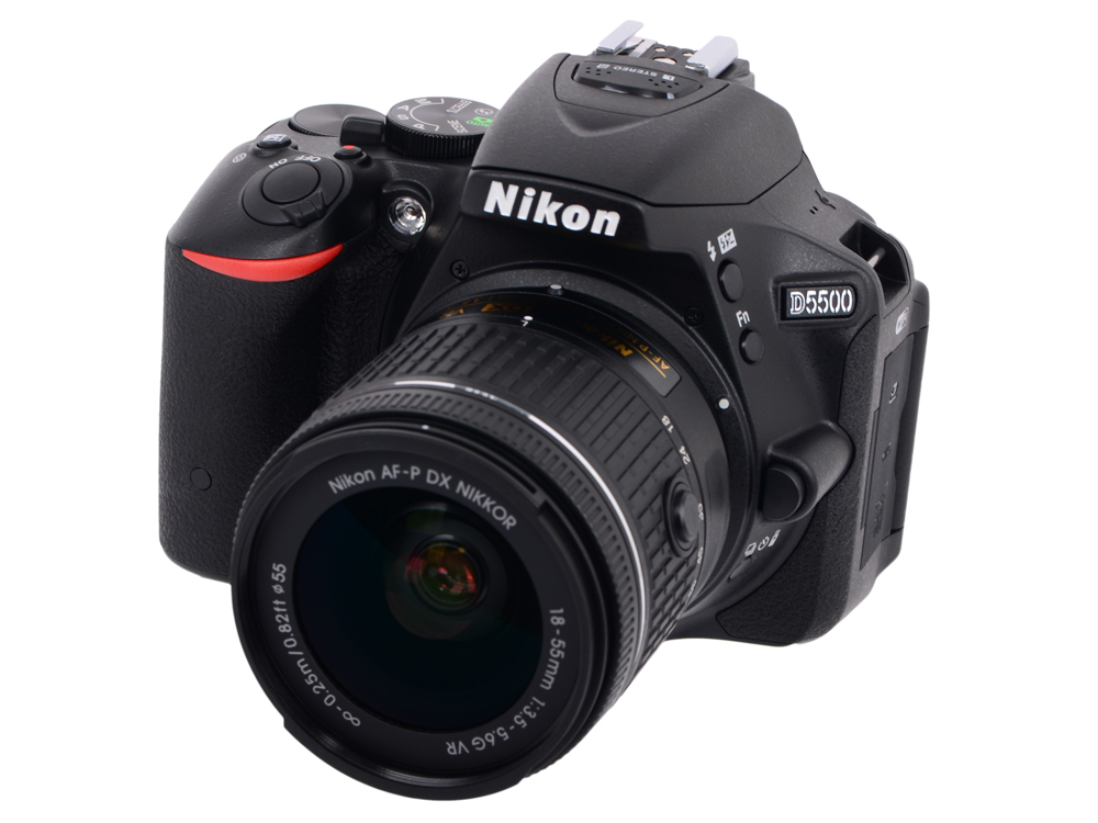 Фотоаппарат Nikon D5500 Black KIT (DX 18-55 VR AF-P 24.1Mp, 3.2 WiFi, GPS) цифровая фотокамера nikon d5300 kit af p dx 18 55mm vr black vba370k007