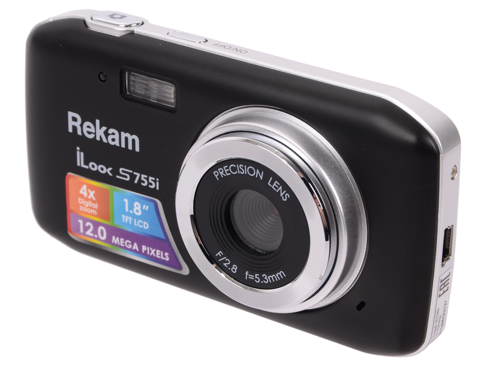 Цифровая фотокамера Rekam iLook S755i 12 Mpx 1.8 LCD черный rekam ilook s950i black цифровая фотокамера