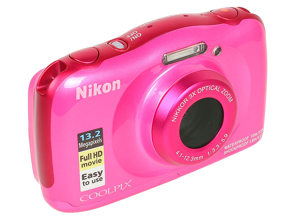 Фотоаппарат Nikon Coolpix W100 Pink Backpack KIT (13.2Mp, 3x zoom, 2.7, SDXC, Влагозащитная, Ударопрочная) (водонепроницаемый 10 метров) dc v100 15mp cmos digital camera w 5x optical zoom 4x digital zoom sd slot pink 2 7 tft