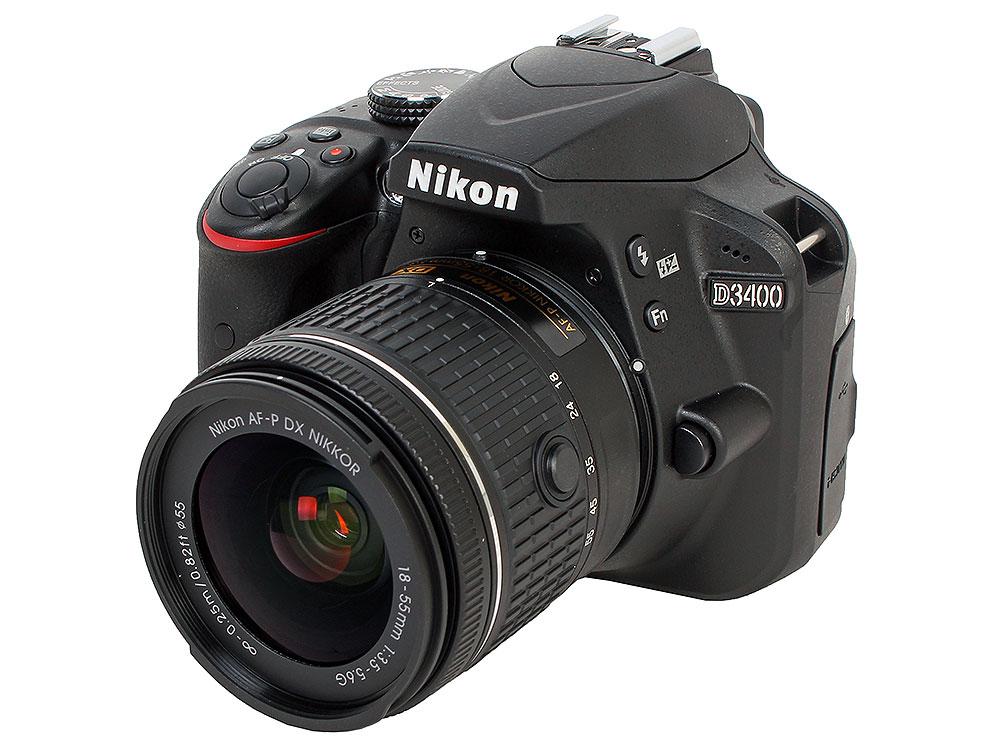 Фотоаппарат Nikon D3400 Black KIT (AF-P 18-55 non VR 24,7Mp, 3 LCD) цифровая фотокамера nikon d3400 kit af p 18 55 dx vr vba490k001