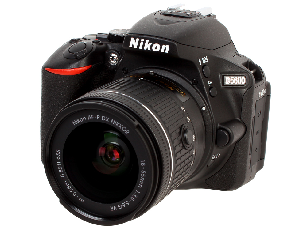 Фотоаппарат Nikon D5600 Black KIT (18-55 P VR 24.2Mp, 3.2 WiFi, GPS) nikon d3300 kit 18 55 vr af p черный