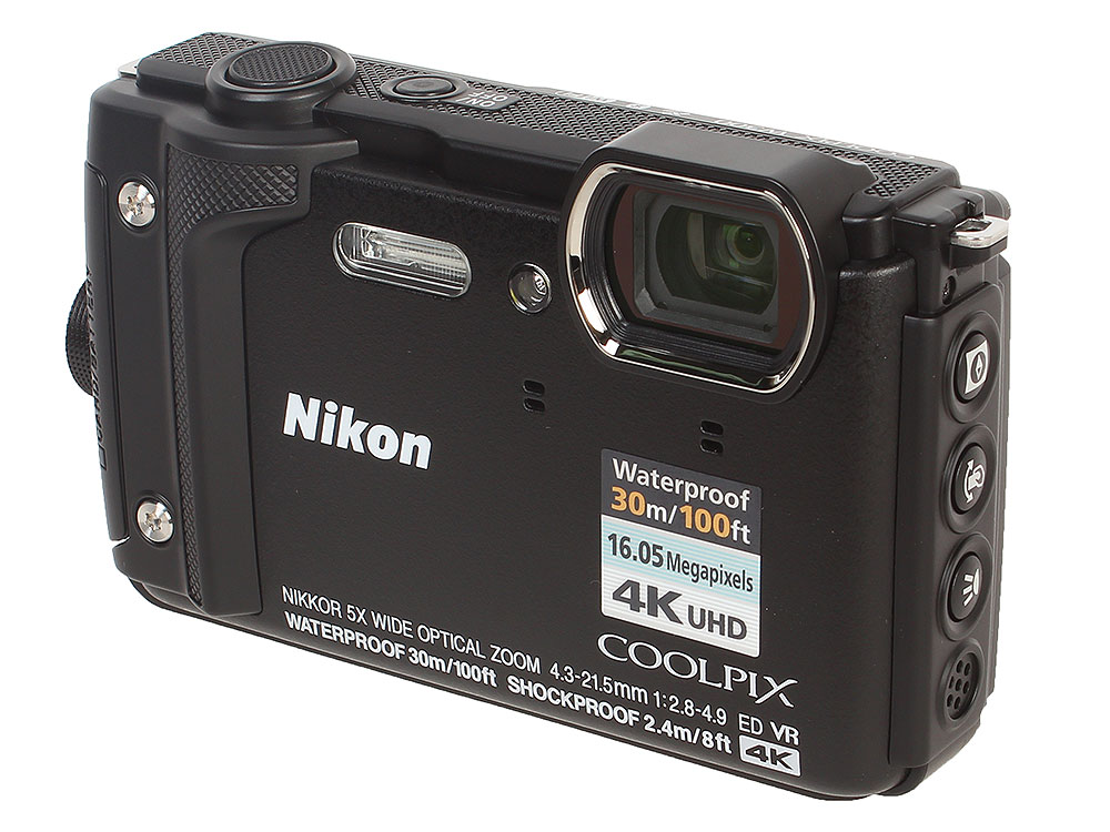 Фотоаппарат Nikon Coolpix W300 Black (16.0Mp, 5x zoom, 3.0, SDXC, Влагозащитная, Ударопрочная) (водонепроницаемый 30 метров) dc v100 5 0mp cmos digital video camera w 5x optical zoom sd black 2 7 lcd