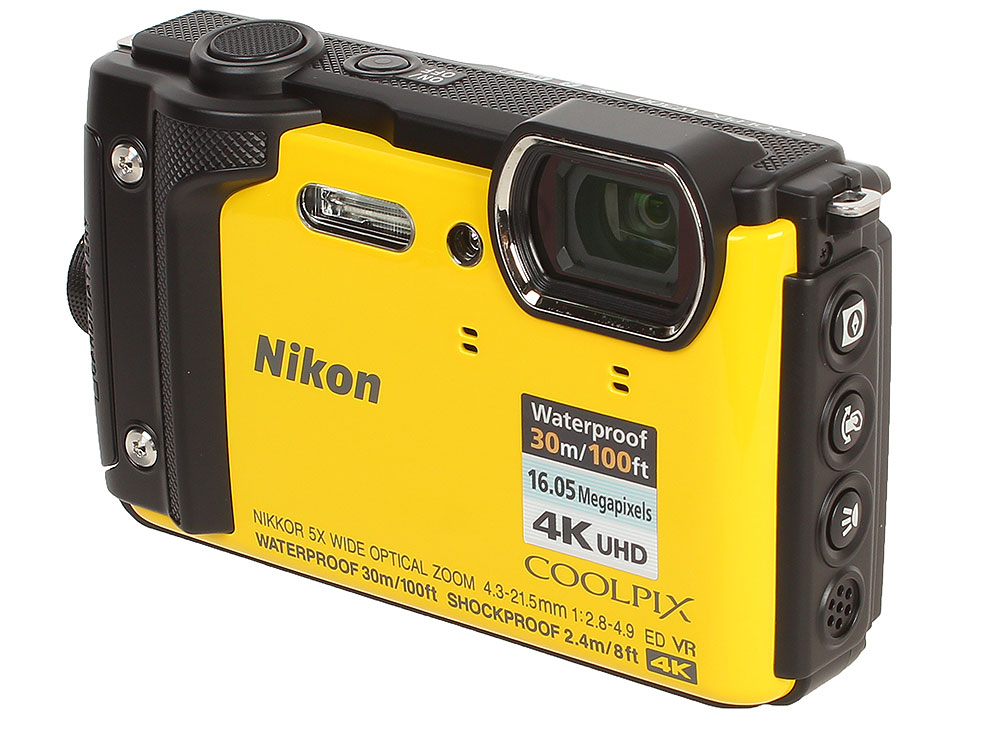 Фотоаппарат Nikon Coolpix W300 Yellow (16.0Mp, 5x zoom, 3.0, SDXC, Влагозащитная, Ударопрочная) (водонепроницаемый 30 метров) фотоаппарат nikon coolpix a10 16mp 5x zoom серебристый