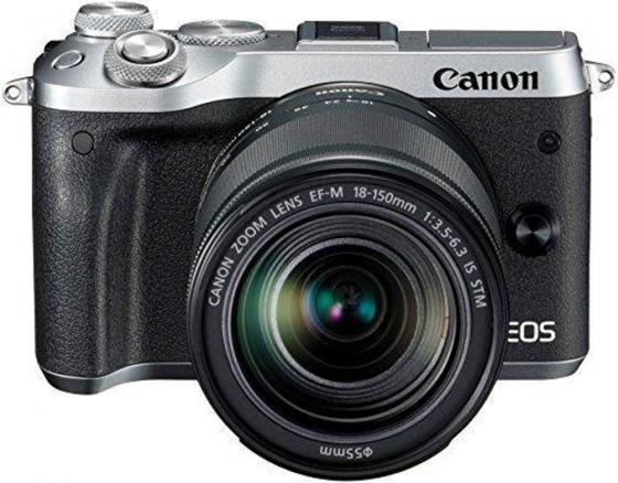 Фотоаппарат Canon EOS M6 24.2Mpix 3 1080p WiFi 18-150 IS STM f/ 3.5-6.3 LP-E17 серебристый 1725C022