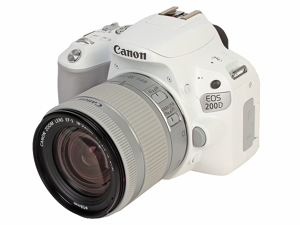 Фотоаппарат Canon EOS 200D KIT White (зеркальный, 24,2Mp, EF18-55 IS STM, 3, SDHC) фотоаппарат canon eos 200d kit ef s 18 55 mm f 4 5 6 is stm black