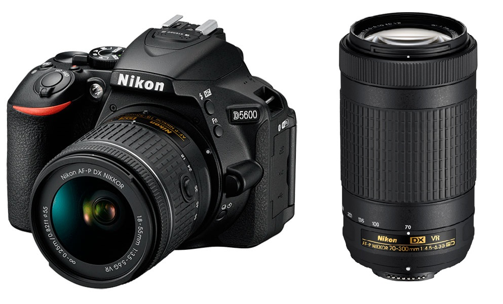Зеркальный фотоаппарат Nikon D5600 KIT AF-P 18-55 VR + AF-P 70-300 VR Black 24.8 Mp, / max 6000x4000 / Wi-Fi / поворотный экран 3 / 415 г фотоаппарат зеркальный nikon d3400 af p 18 55 ii kit