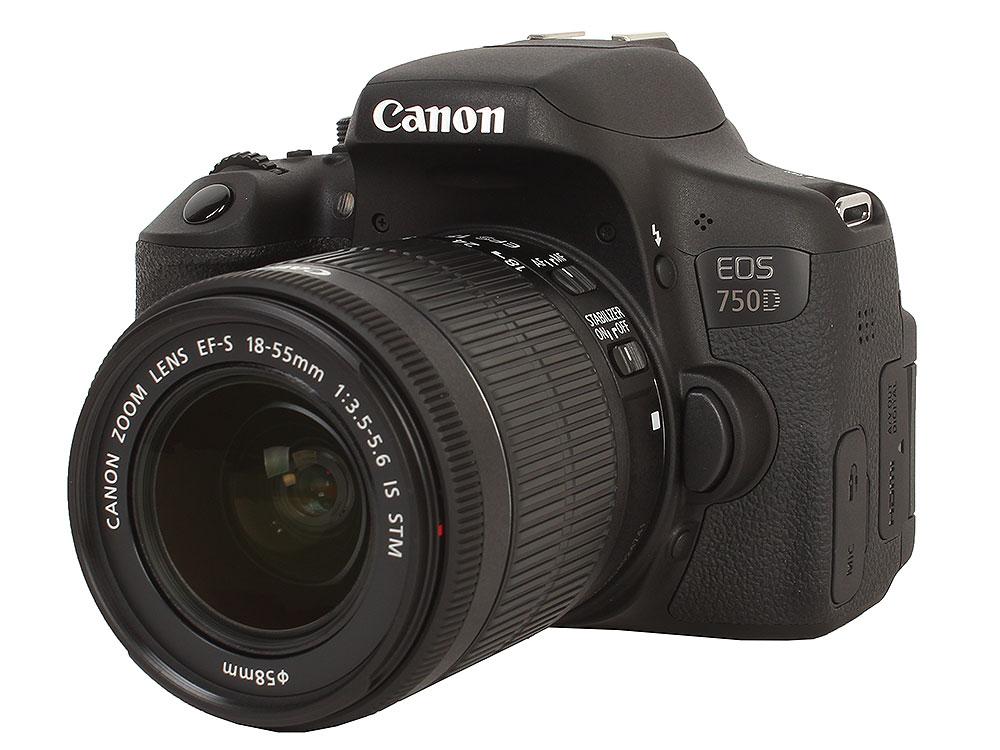 Зеркальный фотоаппарат Canon EOS 750D DBL KIT Black 24.2 Mp, / max 6000x4000 / экран 3 / 555 г зеркальный фотоаппарат