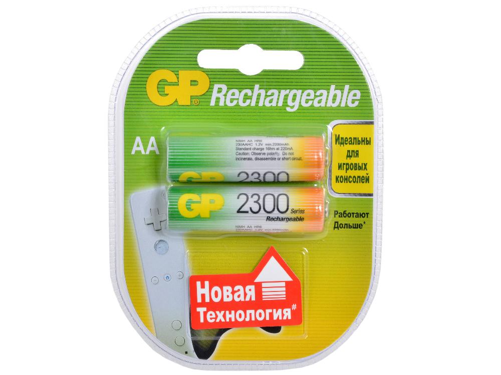 Аккумуляторы GP 2шт, AA, 2300mAh, NiMH (230AAHC) аккумулятор c robiton r14 4500 mah 4500mhc 2 bl2 nimh 2 штуки