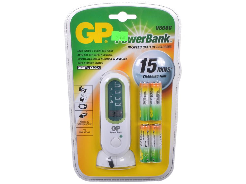 Зарядное устр. PowerBank 15мин. + Аккум. 4шт. 2700mAh (PB80GS270SA-UE4) зарядное устройство и аккумулятор gp powerbank pb420gs130 1300mah aa 4шт