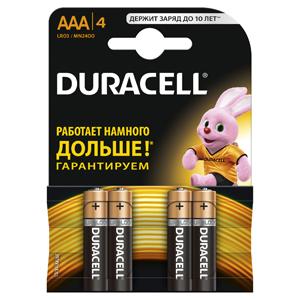 Батарейки DURACELL  LR03-4BL BASIC (40/120/21120)  Блистер 4 шт  (AAA) duracell cef14 4 hour charger 2 x aa1300mah