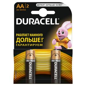 Батарейки DURACELL  LR6-2BL BASIC (40/120/10200)  Блистер 2 шт  (AA) батарея duracell professional lr6 2bl aa блистер 2 шт