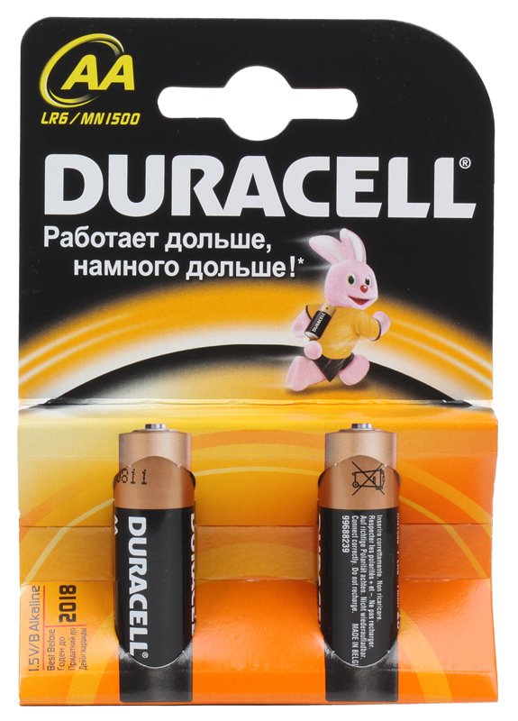 Батарейки DURACELL  LR6-2BL BASIC (40/120/10200)  Блистер 2 шт  (AA) jacques lemans часы jacques lemans 1 1461m коллекция classic