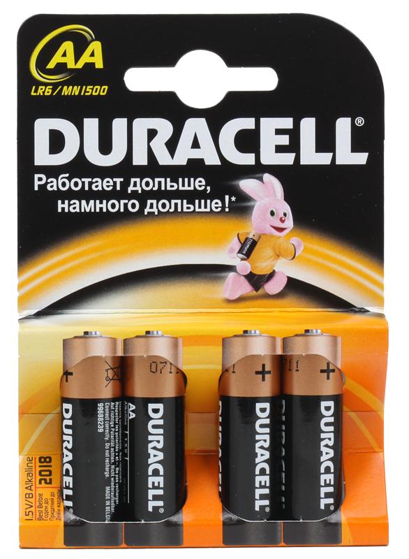 Батарейки DURACELL LR6-4BL BASIC (80/240/20400) Блистер 4 шт  (AA)