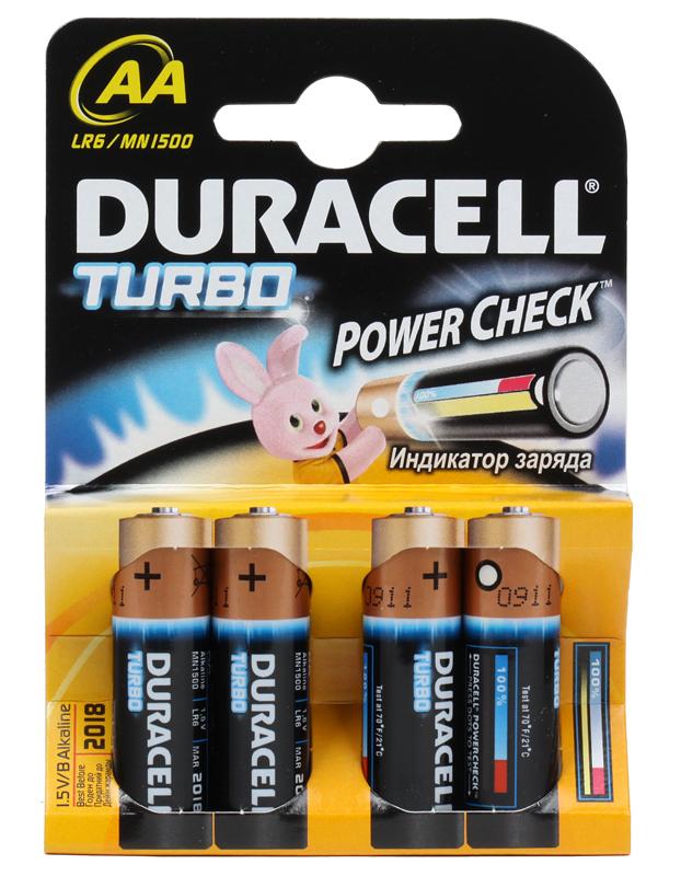 Батарейки DURACELL  LR6-4BL TURBO (80/240/20400)  Блистер  4шт   (AA) kodak hr6 4bl 1700mah [kaahr 4] 80 640